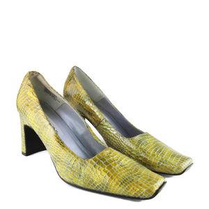 BELLINI Gold Croc Pattern Square Toe Heels